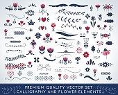 Premium quality calligraphic and floral elements