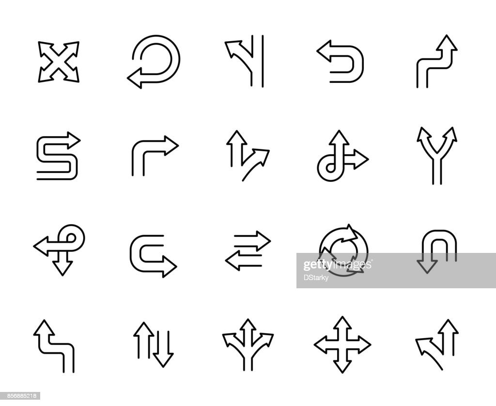 Premium set of arrow and direction line icons.