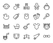 Premium set of baby line icons.