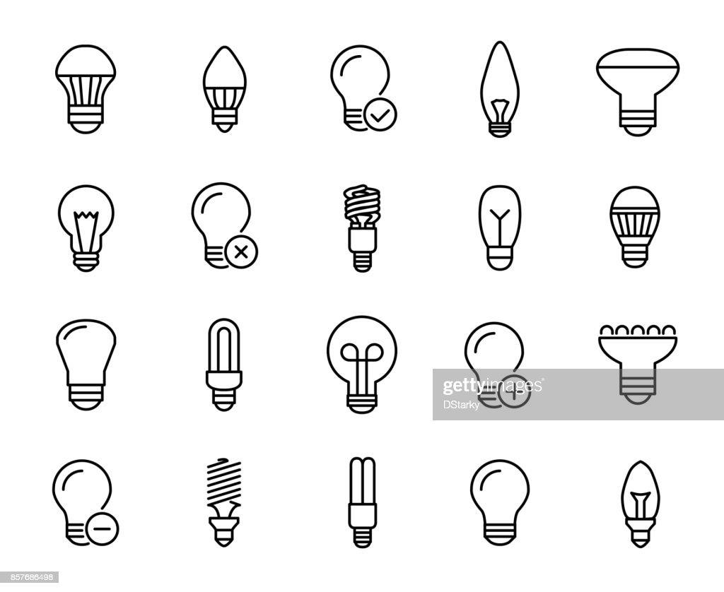 Premium set of bulb line icons.