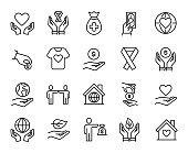 Premium set of charity line icons