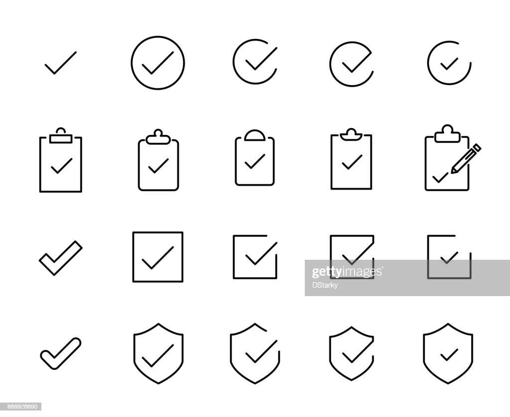Premium set of check line icons.