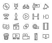 Premium set of cinema line icons.