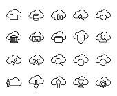 Premium set of computer cloud line icons.