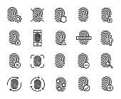 Premium set of finger print line icons.