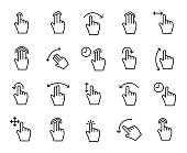 Premium set of gesture line icons.