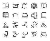 Premium set of learning line icons.