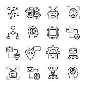 Premium set of machine learning line icons.