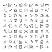 Premium set of management line icons.