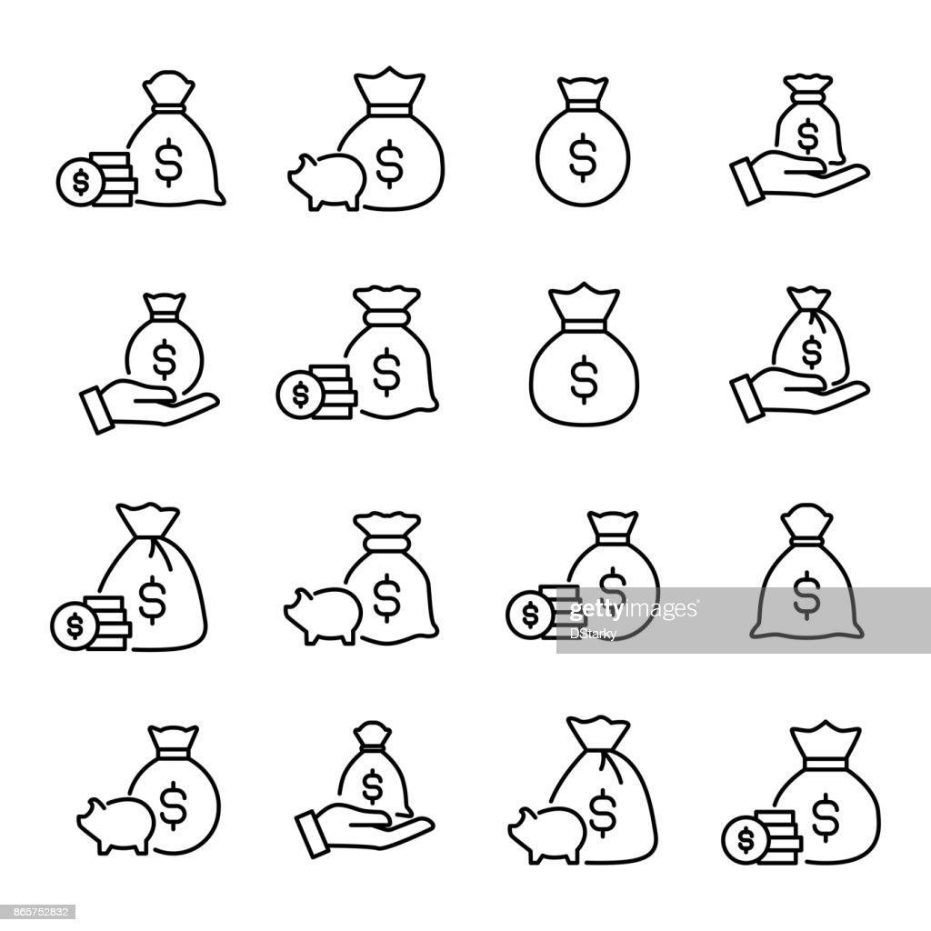 Premium set of moneybag line icons.