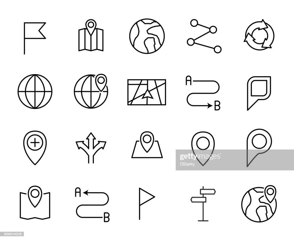 Premium set of navigation line icons.