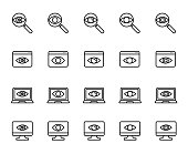 Premium set of observation or monitoring line icons.