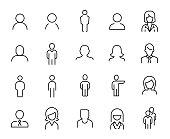 Premium set of people line icons.