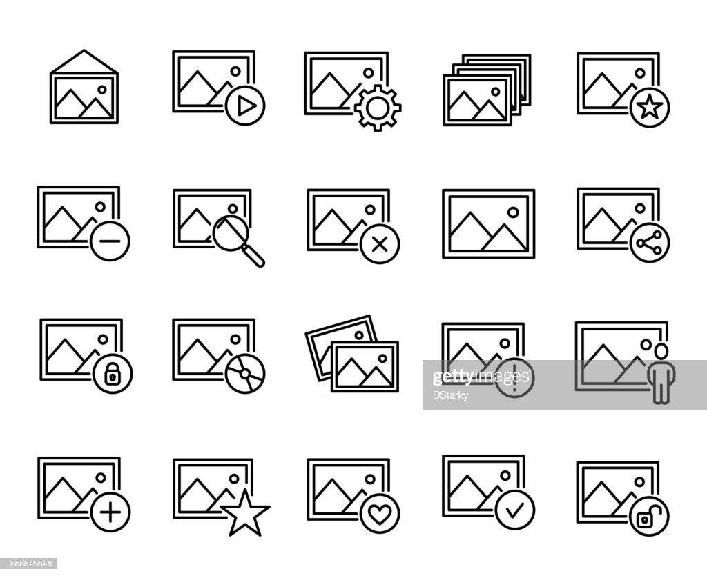Premium set of photo line icons.