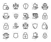 Premium set of safeguard line icons.
