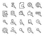 Premium set of search line icons.