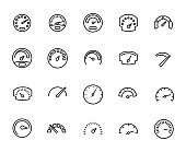 Premium set of speedometer line icons.