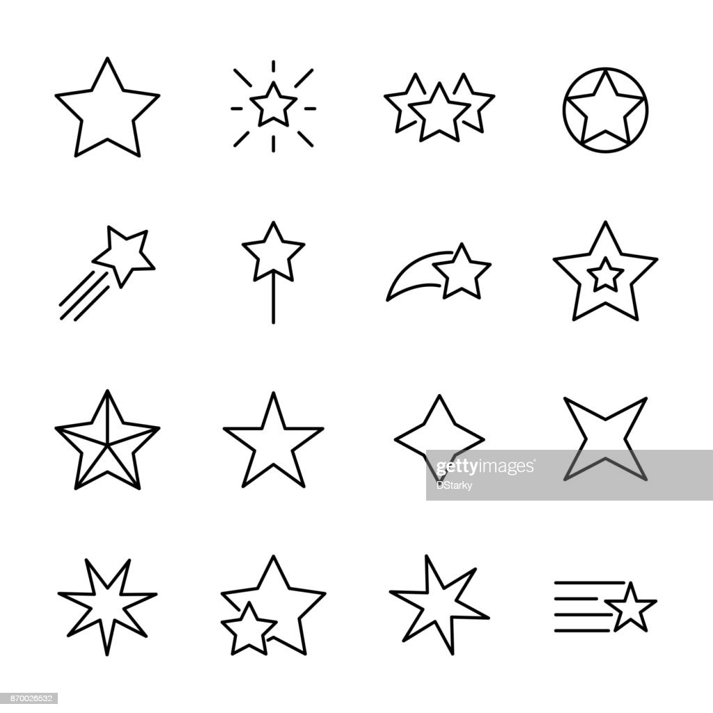Premium set of star line icons.