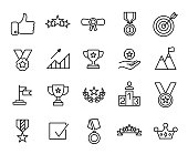 Premium set of success line icons.