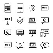 Premium set of survey or test line icons.