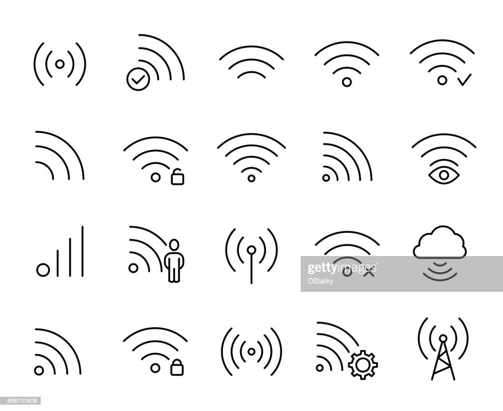 Premium set of wi-fi or wireless line icons.