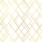 Premium style seamless pattern. Golden cross lines on a white background