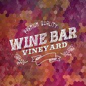 Premium Wine bar vintage label illustration background