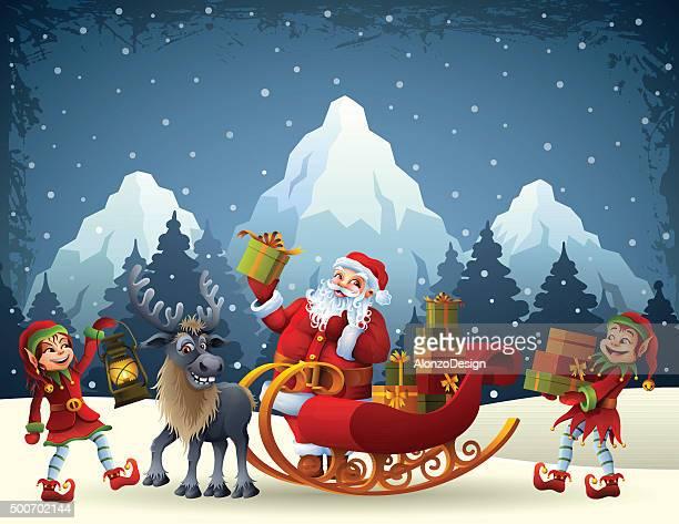 クリスマスの準備 - サンタ ソリ点のイラスト素材/クリップアート素材/マンガ素材/アイコン素材