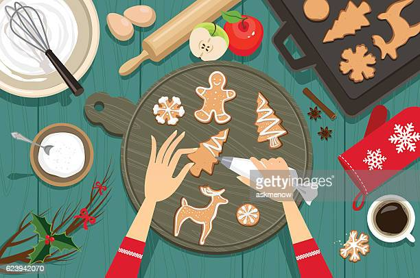 preparing for christmas - sugar food stock illustrations, clip art, cartoons, & icons