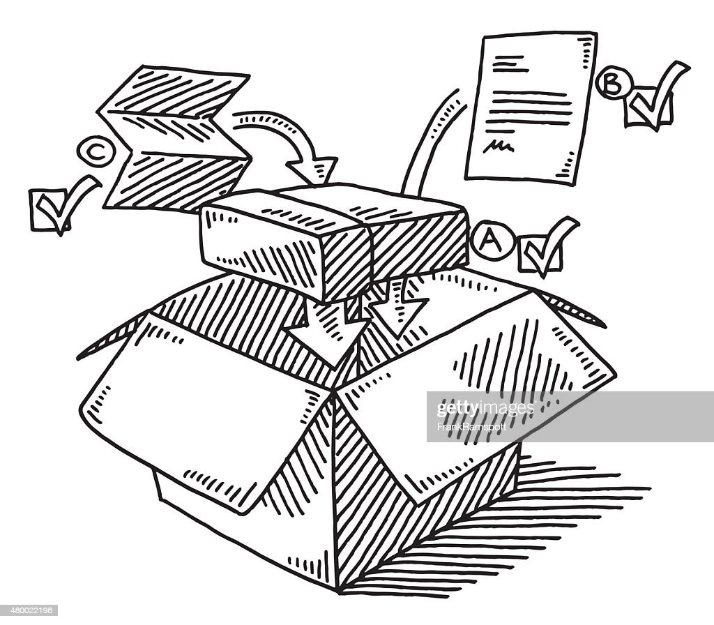 Preparing Of Shipping A Product Drawing : stock illustration
