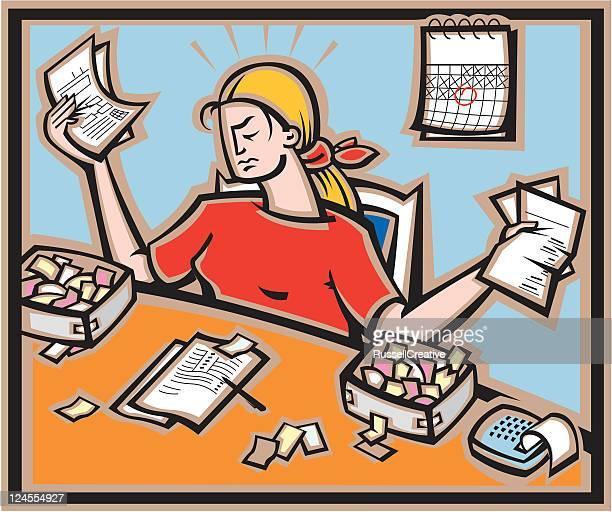 Preparing paperwork or taxes
