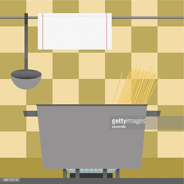 preparing spaghetti - paper towel stock illustrations, clip art, cartoons, & icons