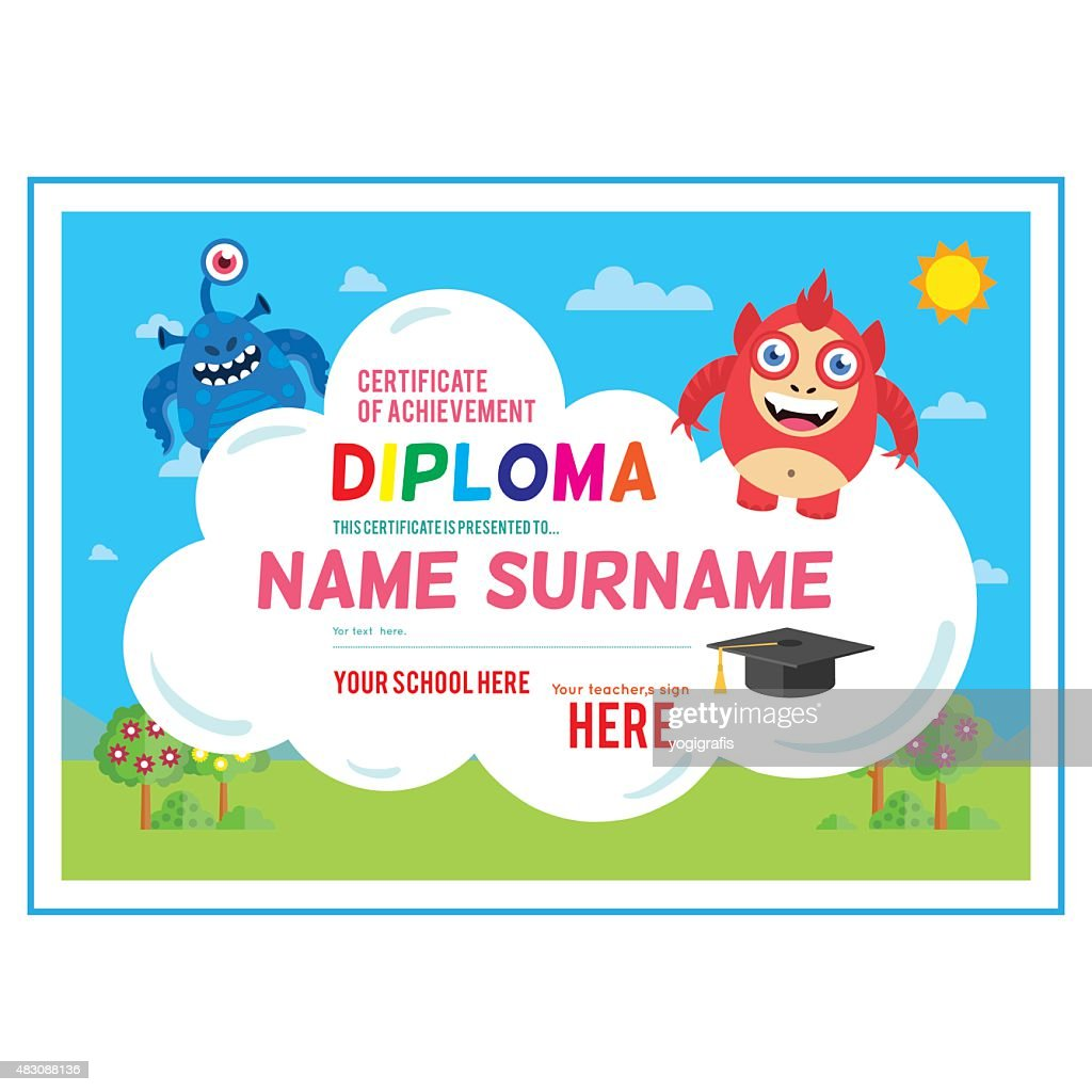 Preschool Certificate Vector Art Getty Images