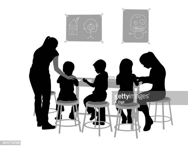 preschool drawing activities - child care stock illustrations