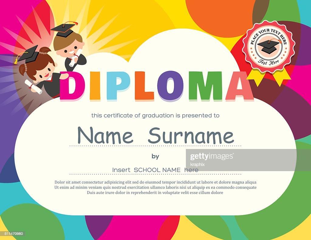 Preschool Elementary school Kids Diploma certificate design template