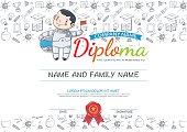 Preschool Elementary school Kids Diploma certificate.