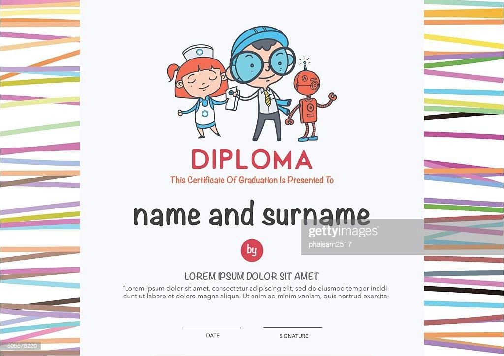 Preschool Elementary school Kids Diploma .