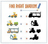 Preschool game with cars and their shadows