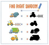 Preschool game with vehicles and shadows