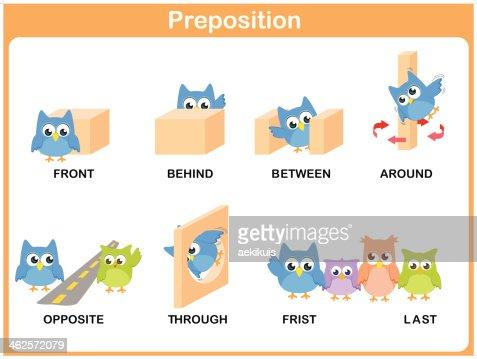 Preschool Illustrations Of Prepositions Using Owls Vector ...