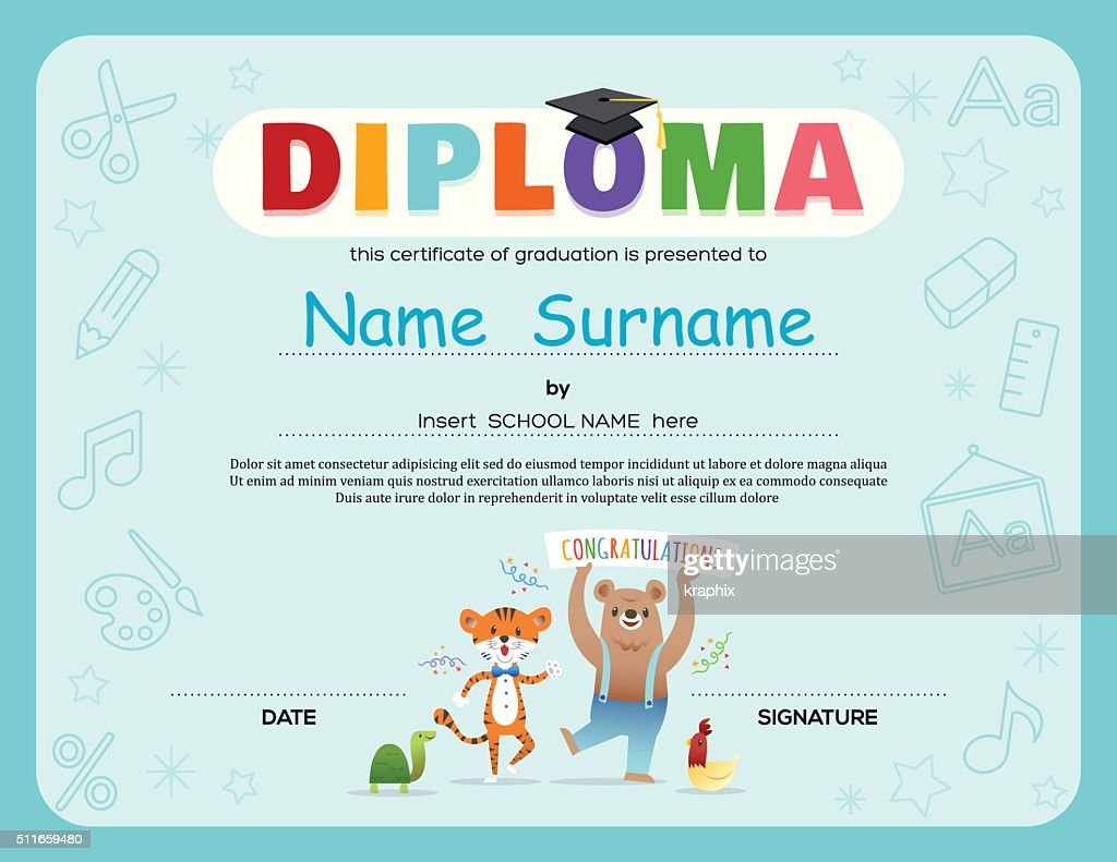 Kids diploma certificate background design should abortion be legal school kids diploma certificate template contract template between preschool kids diploma certificate background design template vector yadclub Choice Image