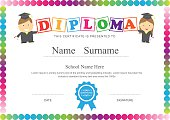 Preschool kids diploma certificate design template background