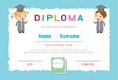 Preschool kids diploma certificate elementary