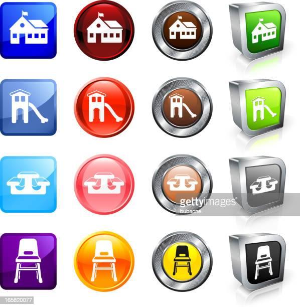 ilustraciones, imágenes clip art, dibujos animados e iconos de stock de preescolar sin royalties de vector conjunto de botón - edificio de escuela primaria