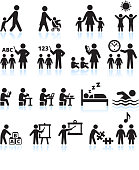Preschool Summer camp and Child Daycare vector icon set