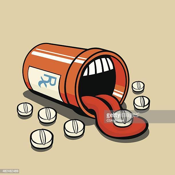 prescription bottle with pills - tongue stock illustrations, clip art, cartoons, & icons