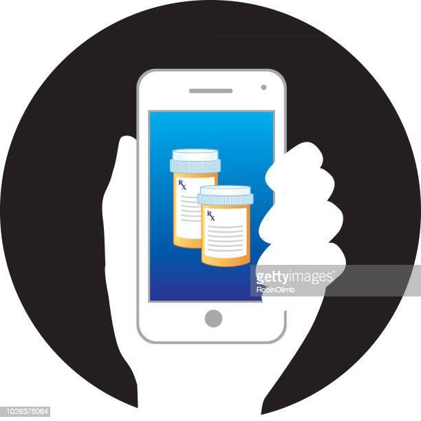 ilustrações, clipart, desenhos animados e ícones de prescrição garrafas telefone inteligente - medicamento receitado