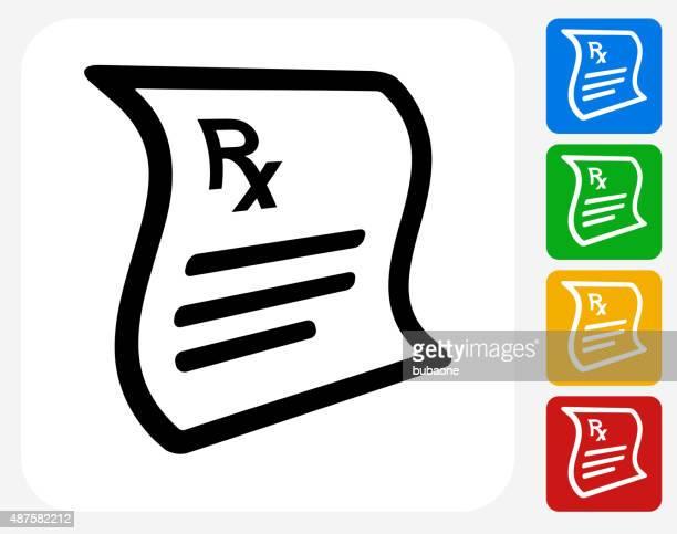Prescription Icon Flat Graphic Design
