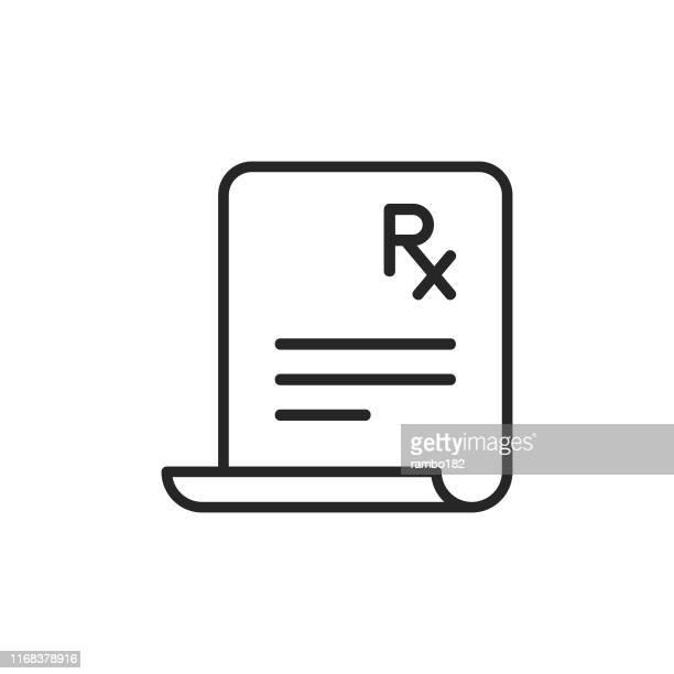 illustrazioni stock, clip art, cartoni animati e icone di tendenza di icona della linea di prescrizione. pixel perfetto. per dispositivi mobili e web. tratto modificabile. - farmacia