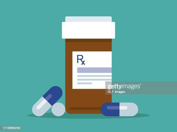 prescription pill bottle and pills - prescription medicine stock illustrations